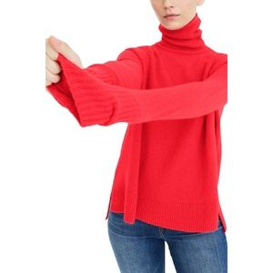 J.Crew Sidesplit Turtleneck Sweater XXS Bright Red